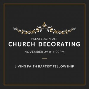 Please bring your family and gather together with our church family as we decorate our sanctuary for Christmas on Sunday evening, November 29th at 6:00 pm. We will trim the two Christmas trees that have become our tradition, the Chrismon tree and our Living Faith ornaments tree. Materials will also be available to make family ornaments to add to the ornaments we have collected over the years. There will be Christmas music, festive food, and a chance for fellowship with the entire church family. (See Ruthie or email her at ruthmcconnell76@aol.com to volunteer to provide refreshments.) Come and be a part of this first night of Advent as we prepare to once again celebrate the birth of our Savior.